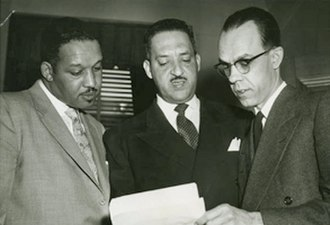 Spottswood William Robinson III - Harold Boulware, Thurgood Marshall, and Spottswood Robinson III in 1953 conferring during Brown case
