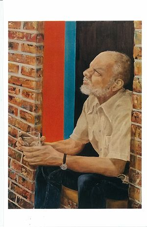 Kendall Shaw - Portrait of Kendall Shaw in Brooklyn, NY, painted by Carol Shaw Moses.