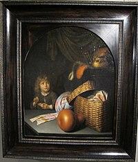 Gerard dou, natura morta con un bambino che fa le bolle di sapone, 1635-36 ca..JPG