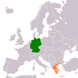 Map indicating locations of Germany and Greece