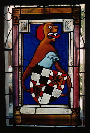 Burgraviate of Nuremberg - Coat of arms of the Hohenzollern as burgraves, in a stained glass window at Hohenzollern Castle