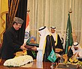 Ghulam Nabi Azad and the Second Deputy Prime Minister and Interior Minister, Prince Naif bin Abdulaziz exchanging the signed documents of agreements on transfer of sentenced persons and extradition treaty in the presence of.jpg