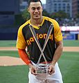 Giancarlo Stanton holds up the T-Mobile -HRDerby trophy. (28476385661).jpg