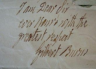 Gilbert Burns (farmer) - Gilbert Burns' signature