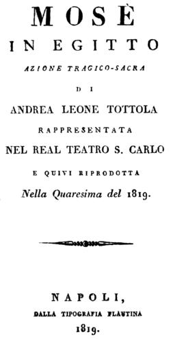 Gioachino Rossini - Mosè in Egitto - titlepage of the libretto - Naples 1819.png