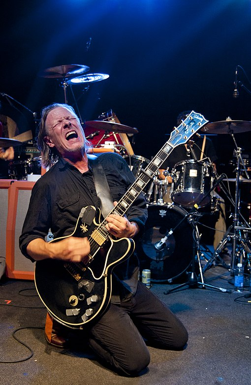 The band was formed and has been led by singer, songwriter and multi-instrumentalist Michael Gira, here shown performing in Kansas City, Missouri in September 2012. Gira (2012-09-19 by Ian T. McFarland).jpg
