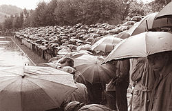 A black and white photograph of a terrace, on a rainy day, full of football fans with umbrellas.