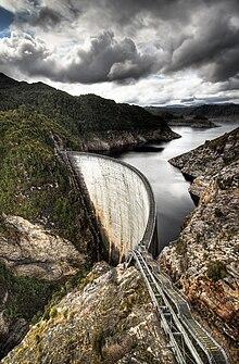 La Gordon Dam in Tasmania, Australia