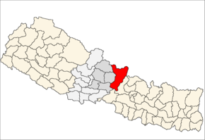 Gorkha District i Gandaki Zone (grå) i Western Development Region (grå + lysegrå)