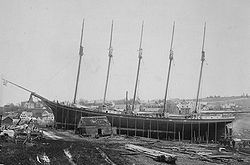 Preparing schooner Governor Ames for launch, 1888