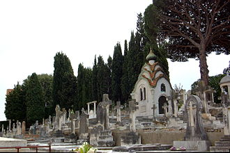 Cimetière du Grand Jas - View of the cemetery with the family von Derwies' chapel