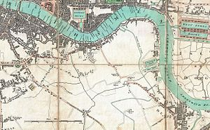 Grand Surrey Canal - Grand Surrey Canal on Mogg Pocket or Case Map of London, 1806