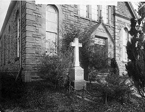 William Thomas (Gwilym Marles) - Gravestone of William Thomas at Llwynrhydowen Chapel, c.1885