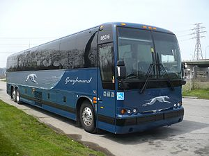 English: Greyhound bus in the Port Lands, Toronto