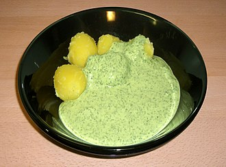 "Green sauce - ""Frankfurter Grüne Soße"" with potatoes"