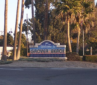 Grover Beach, California - Grover Beach Welcome Sign at the corner of Hwy 1 and West Grand Ave