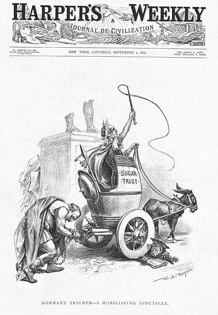 Cleveland's humiliation by Gorman and the sugar trust Grover Cleveland and Wilson-Gorman Tariff Cartoon.jpg