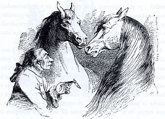 Houyhnhnm - Gulliver in discussion with Houyhnhnms (1856 lllustration by J.J. Grandville.)