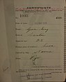 Gum Sing Auckland Chinese poll tax certificate butts Certificate issued at Auckland.jpg