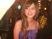 HK Central night LKF 藝人 傅穎 Theresa Fu Wing at work with fans Eclipse 04.JPG