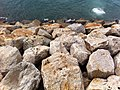 HK Wan Chai waterfront promenade view Victoria Harbourt n big stone rock Nov-2012.JPG