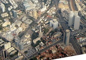 HaKirya - Aerial view of the northern Kirya, Azrieli towers, and Kirya Tower