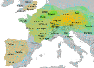 Boii - Map showing the approximate location of the Boii in Bohemia and in Italy. The contemporary La Tène culture is indicated in green tones, the preceding Hallstatt culture in yellow.
