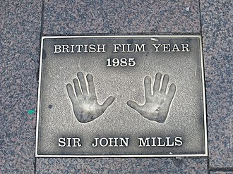 Mills handprints from 1985 at Leicester Square, London Hand prints in Leicester Square, London - Sir John Mills (4039259589).jpg