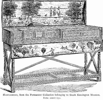 Martin Peerson - A virginal, probably English, c. 1750, from Frederick Litchfield's Illustrated History of Furniture from the Earliest to the Present Time (1892?). Peerson's keyboard music would probably have been played on such an instrument.