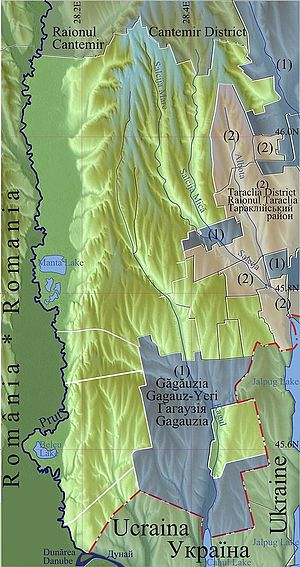 Cahul District - Physical map of Cahul District