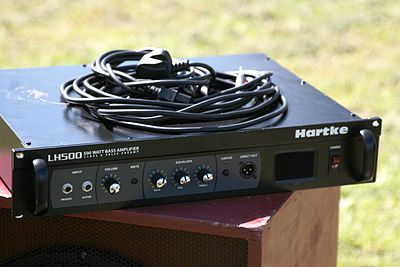"A Hartke LH500 bass amplifier ""head"", which is rated at 500 watts. Hartke LH500 Bass Amp.jpg"