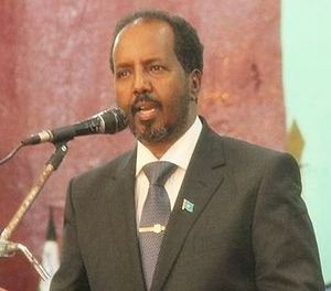 Hassan Sheikh Mohamud - Hassan Sheikh Mohamud at his presidential inauguration ceremony, September 2012.