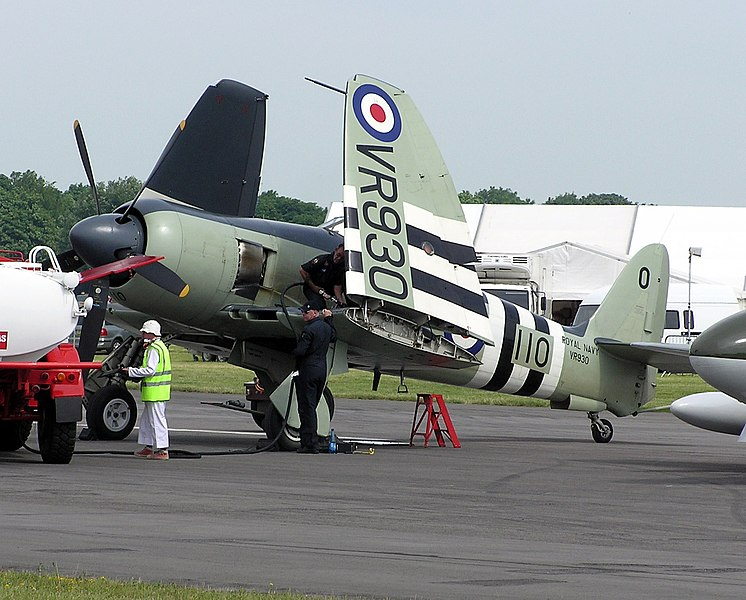 Hawker Sea Fury Mk.II (VR930), previously of the UK Fleet Air Arm, with wings folded, at Kemble Airfield, Gloucestershire, England. Owned by the Royal Navy Historic Flight.