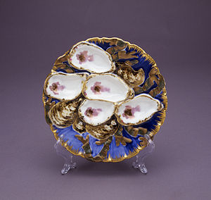Lucy Hayes - Hayes presidential china oyster plate, 1877.