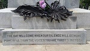 Haymarket Martyrs' Monument - Image: Haymarket Martyrs Memorial detail 01