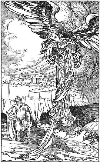 "Þjazi - ""He flapped away with her, magic apples and all"" (1902) by Elmer Boyd Smith."