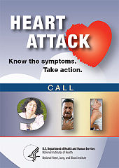 "Information card writing: ""Heart Attack: Know the Symptoms. Take Action. Call 911"" and depicting people holding their chest in pain"