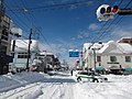 Heavy snow in front of the station Sakaori intersection of February 15, 2014.JPG