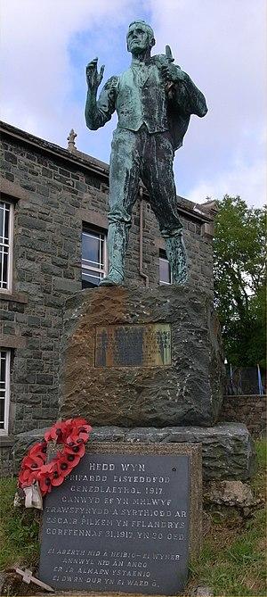 Hedd Wyn - Statue of Hedd Wyn in his home village of Trawsfynydd.