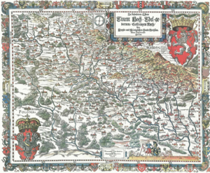 Martin Helwig - Martin Helwig's map of Silesia (south direction on top edge), 1685 reprint