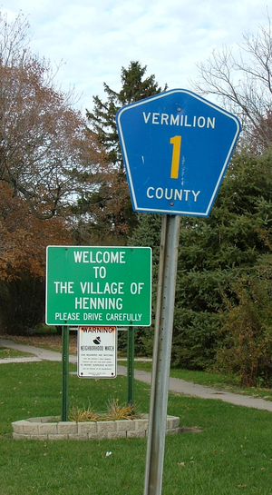 Henning, Illinois - Signs at the south edge of town
