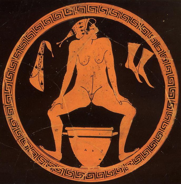 Hetaera urinating into a skyphos at a Kylix by the Foundry Painter Antikensammlung Berlin