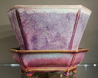 """Jun ware - Official Jun """"streaked"""" hexagonal flowerpot and stand, Ming dynasty, 1400–35"""