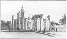 A monochrome illustration of a large medieval building, with many windows, turrets, and chimneys.  Sculpted bushes surround the house, which is surrounded by fields and trees.
