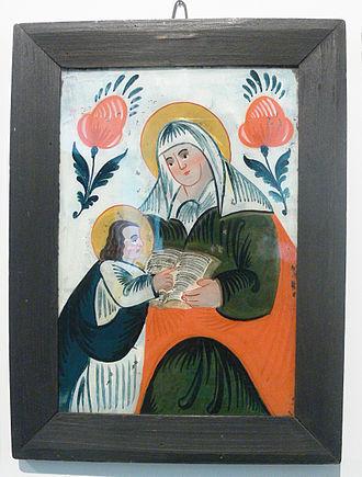 Reverse glass painting - Image: Hinterglasbild Anna lehrt Maria