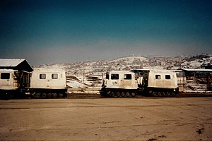 "United Nations Protection Force - UN Bv206 light tracked ""softskin"" (unarmoured) vehicles in Sarajevo."