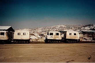 """United Nations Protection Force - UN Bv206 light tracked """"softskin"""" (unarmoured) vehicles in Sarajevo."""