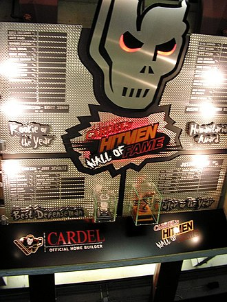 "Calgary Hitmen - Hitmen ""Wall of Fame"", hanging above section 104 at the Scotiabank Saddledome"
