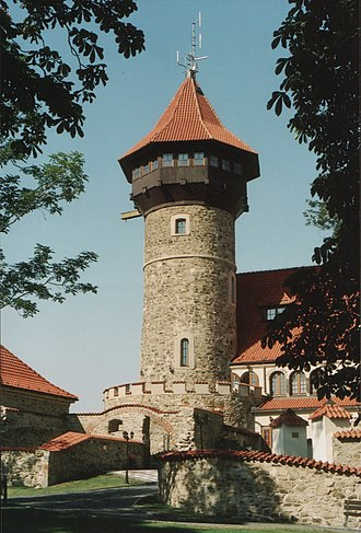 Most (Most District) - Lookout tower of the rebuilt Hněvín