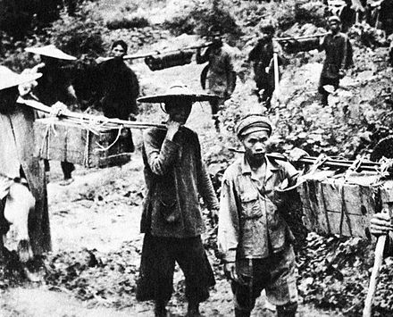 The Ho Chi Minh trail was used by Vietnamese and Laotian people from the very beginning. Captured Viet Cong, circa 1959 HoChiMinhTrial001.jpg